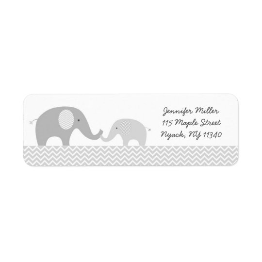Graue Zickzack Elefant-Baby-Dusche Kleiner Adressaufkleber