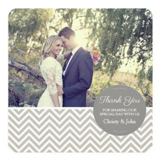 Graue Zickzack Hochzeit danken Ihnen zu kardieren Karte