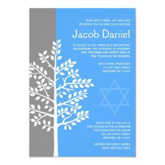 Grauer blauer Baum von Leben-Bar Mitzvah 12,7 X 17,8 Cm Einladungskarte