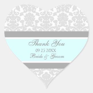 Grauer blauer Damast danken Ihnen Gastgeschenk Herz Sticker