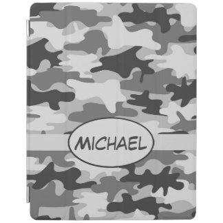 Grauer Camouflage-Tarnungs-Name personalisiert iPad Hülle