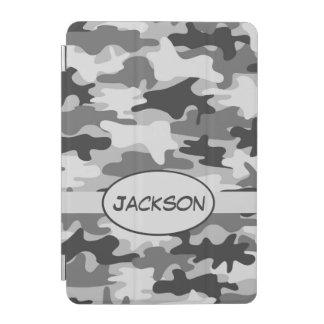 Grauer Camouflage-Tarnungs-Name personalisiert iPad Mini Hülle