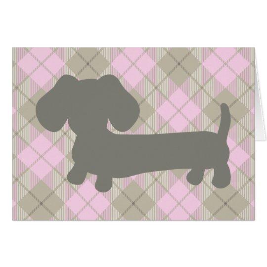 Grauer Dackel-HundDachshud rosa karierte Grußkarte