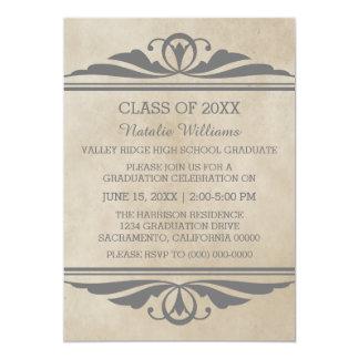 Grauer eleganter Deko-Abschluss laden ein 12,7 X 17,8 Cm Einladungskarte