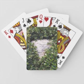 Grauer Felsen in grünem Bush Spielkarten