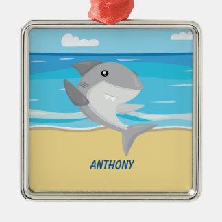 Grauer Haifisch auf der Strand-Verzierung Silbernes Ornament