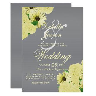 Grauer Hochzeits-Satin und gelbe Pastellhochzeit Karte