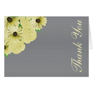 Grauer Hochzeits-Satin und gelbes Blumen Karte