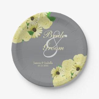 Grauer Hochzeits-Satin und Pastellgelb Pappteller