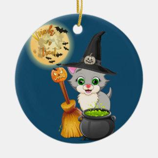 Grauer Kätzchen-Halloween-Cartoon Keramik Ornament