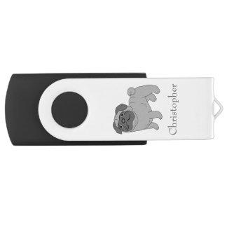 Grauer Mops-Hund addieren gerade Namen USB Stick