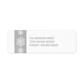 Grauer rustikaler Schneeflocke-Feiertag Rücksendeetikett