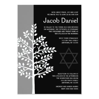 Grauer schwarzer Baum von Leben-Bar Mitzvah 12,7 X 17,8 Cm Einladungskarte