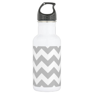 Grauer und weißer Zickzack-Zickzack Muster Trinkflasche