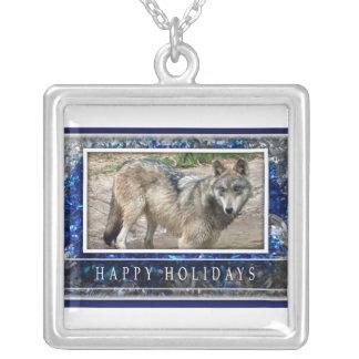 Grauer Wolf-oder Wolf-Weihnachtshalskette Versilberte Kette