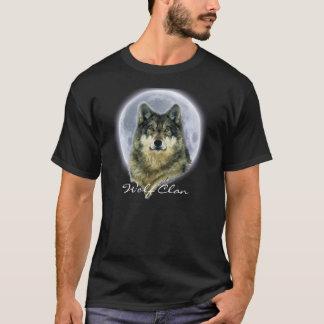 Grauer Wolf u. Vollmond WOLF-CLAN Tier-Kunst T-Shirt