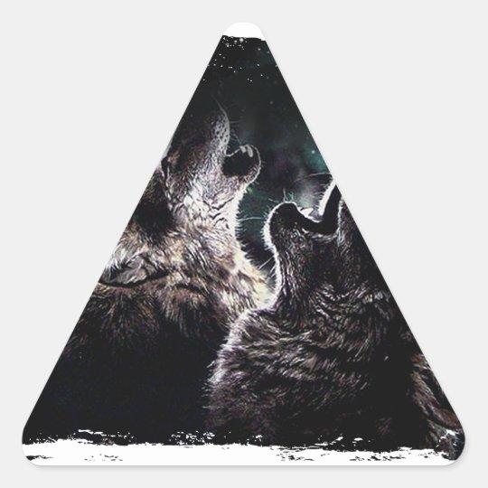 GRAUER WOLF-WOLF-WILD LEBENDE TIERE DREIECKIGER AUFKLEBER