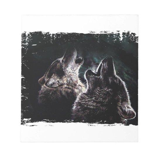 GRAUER WOLF-WOLF-WILD LEBENDE TIERE NOTIZBLOCK