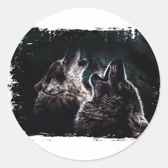 GRAUER WOLF-WOLF-WILD LEBENDE TIERE RUNDER AUFKLEBER