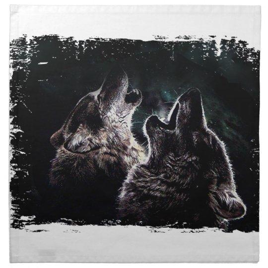 GRAUER WOLF-WOLF-WILD LEBENDE TIERE STOFFSERVIETTE