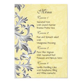 """""""graues gelbes"""" Hochzeitsmenü 12,7 X 17,8 Cm Einladungskarte"""