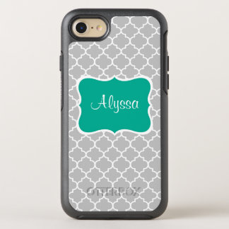 Graues grünes Quatrefoil OtterBox Symmetry iPhone 8/7 Hülle
