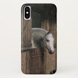 Graues Pferd an der stabilen Tür iPhone X Hülle
