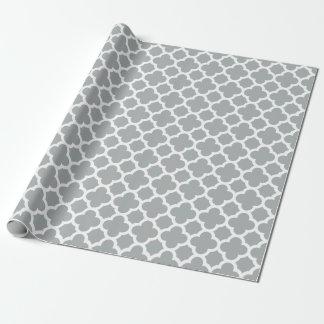 Graues Quatrefoil Gitter-Muster-Packpapier Geschenkpapier