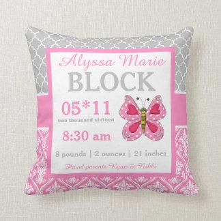 Graues rosa Schmetterlings-Baby-Mitteilungs-Kissen Kissen