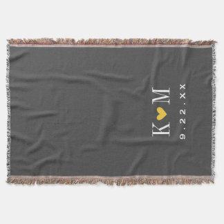 Graues und gelbes modernes Hochzeits-Monogramm Decke