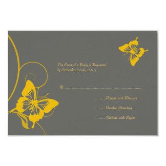 Graues und gelbes Schmetterlings-Hochzeit UAWG 8,9 X 12,7 Cm Einladungskarte