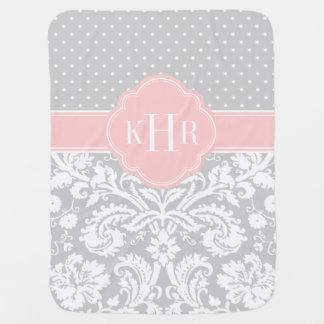 Graues und rosa Damast-Tupfen-Monogramm Baby-Decken