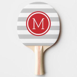 Graues und rotes adrettes Streifen-Monogramm Tischtennis Schläger