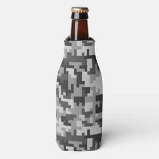 Graues und schwarzes Armeemuster des Pixels Flaschenkühler