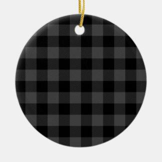 Graues und schwarzes kariertes des Landes Keramik Ornament