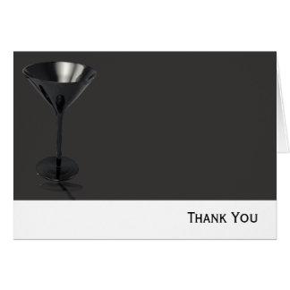 Graues und schwarzes Martini-Glas-Geschäft Mitteilungskarte