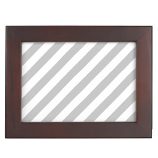 Graues und weißes diagonales Streifen-Muster Erinnerungsdose