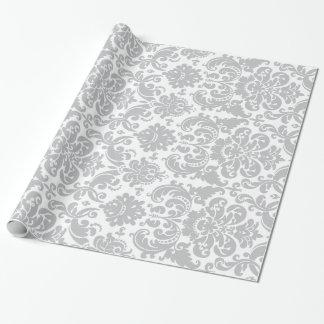 Graues und weißes elegantes Damast-Muster Einpackpapier