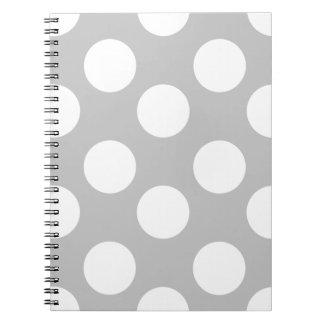 Graues und weißes großes Tupfen-Notizbuch Spiral Notizblock