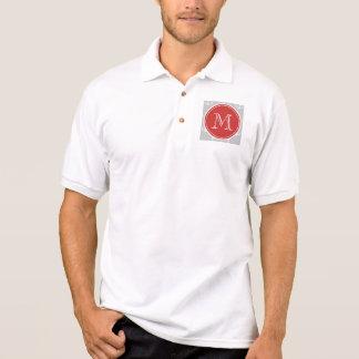 Graues Weiß verankert Muster, rotes Monogramm Poloshirt