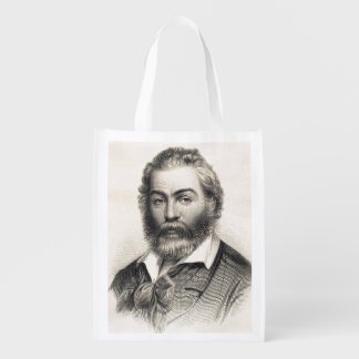 Gravure sur bois en Walt Whitman gravant 1860 Sacs D'épicerie Réutilisables