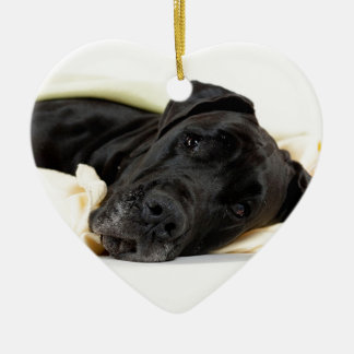 Great Dane - black / Deutsche Dogge - schwarz Keramik Herz-Ornament