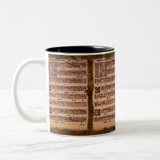 Gregorianische Gesang-Musik-Blatt-trinkende Tasse