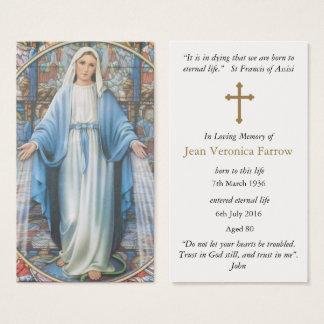 Grêle funèbre Mary de cartes de prière