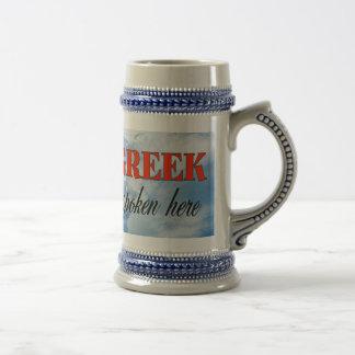 Grieche gesprochene hier bewölkte Erde Bierkrug