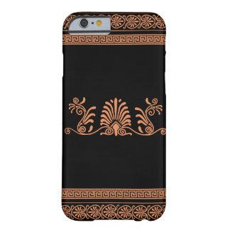 Griechische Art-schwarzes und orange Blumenmuster Barely There iPhone 6 Hülle