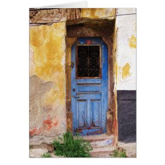 Griechische blaue Tür - Kreta Grußkarte