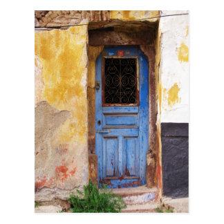 Griechische blaue Tür - Kreta Postkarte