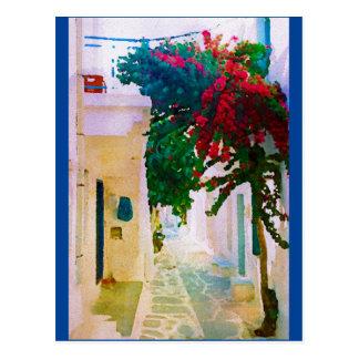Griechische Insel-Dorf-Straße Postkarte
