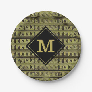 Griechischer klassischer Schlüsselentwurf im Gold Pappteller 17,8 Cm